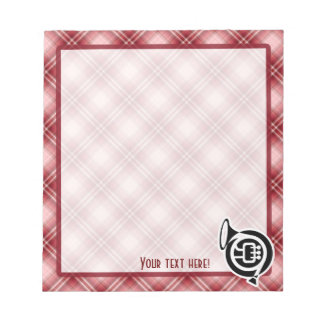 Red Plaid French Horn Memo Note Pad
