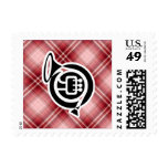 Red Plaid French Horn Postage