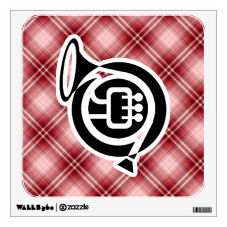Red Plaid French Horn Wall Stickers
