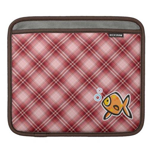 Red Plaid Goldfish iPad Sleeve