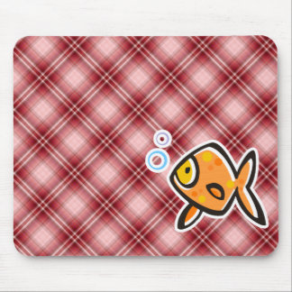 Red Plaid Goldfish Mouse Pad