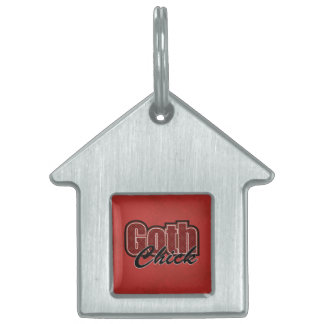 Red Plaid Goth Chick Saying Pet ID Tag