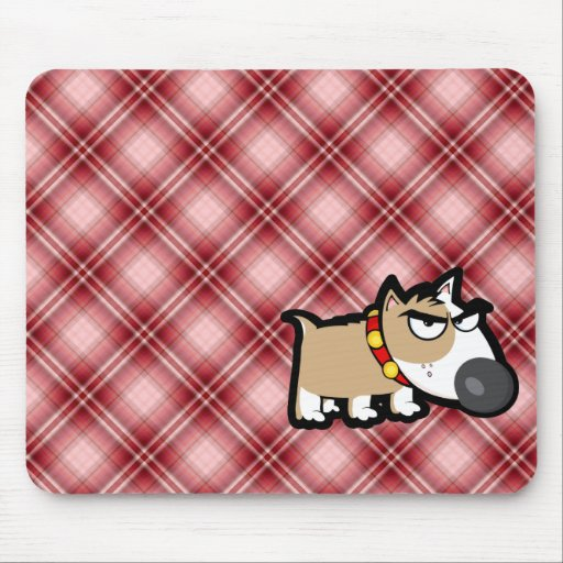 Red Plaid Grumpy Dog Mouse Pad