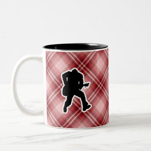 Red Plaid Guitarist Two-Tone Coffee Mug