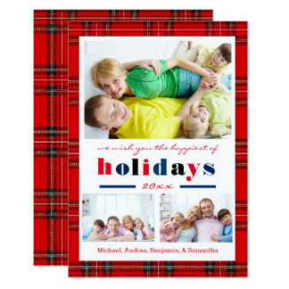 Red Plaid Happiest Holidays - 3x5 Christmas Card
