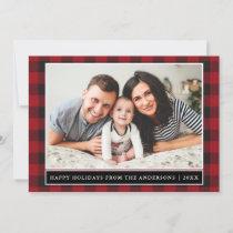 Red Plaid Happy Holidays Family Photo Holiday Card