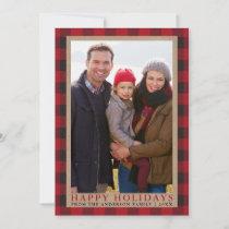 Red Plaid Happy Holidays Family Photo Kraft Holiday Card