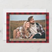 Red Plaid Happy Holidays Kraft Couple Photo Holiday Card