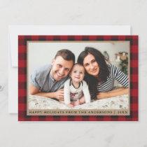 Red Plaid Happy Holidays Kraft Family Photo Holiday Card