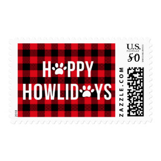 Red Plaid Happy Howlidays Typograhy Pet Holiday Postage