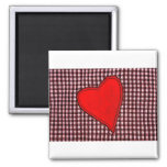 Red Plaid Heart 2 Inch Square Magnet