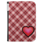 Red Plaid Heart Kindle Cover