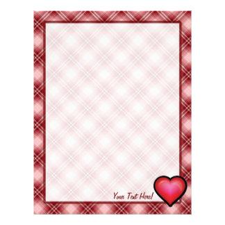 Red Plaid Heart Letterhead