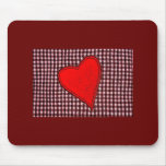 Red Plaid Heart Mouse Pad
