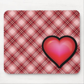 Red Plaid Heart Mouse Pads