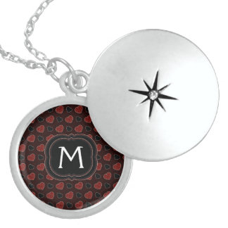 Red Plaid Hearts Pattern With Initial Locket Necklace
