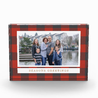 Red Plaid Holiday Photo Photo Block