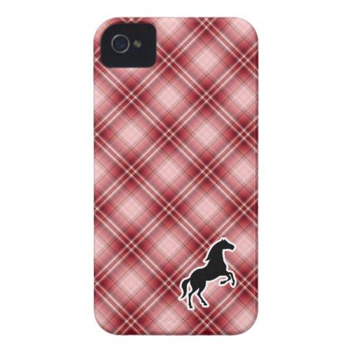 Red Plaid Horse Case-Mate iPhone 4 Cases