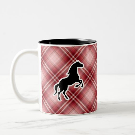 Red Plaid Horse Coffee Mugs