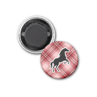 Red Plaid Horse 1 Inch Round Magnet