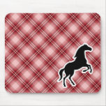Red Plaid Horse Mouse Pad