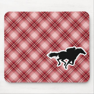Red Plaid Horse Racing Mousepads