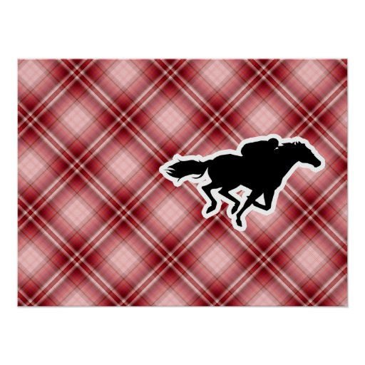 Red Plaid Horse Racing Poster