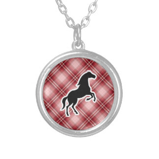 Red Plaid Horse Round Pendant Necklace