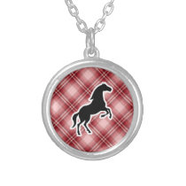 Red Plaid Horse Silver Plated Necklace