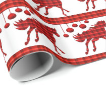 Red Plaid Horses and Ornaments Wrapping Paper