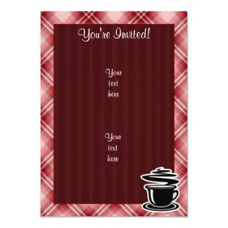 Red Plaid Hot Coffee 5x7 Paper Invitation Card