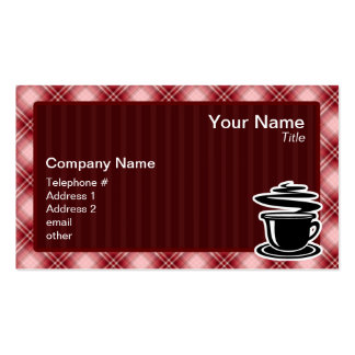 Red Plaid Hot Coffee Double-Sided Standard Business Cards (Pack Of 100)