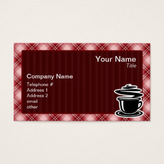 Red Plaid Hot Coffee Business Card