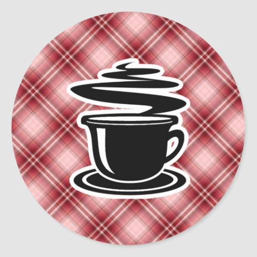 Red Plaid Hot Coffee Classic Round Sticker