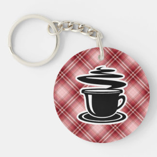 Red Plaid Hot Coffee Double-Sided Round Acrylic Keychain