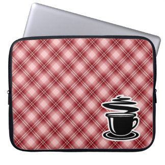 Red Plaid Hot Coffee Computer Sleeves