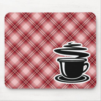 Red Plaid Hot Coffee Mouse Pads