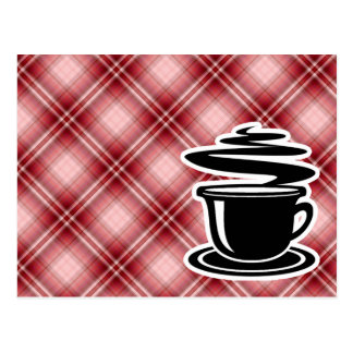 Red Plaid Hot Coffee Postcard