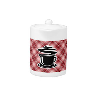 Red Plaid Hot Coffee Teapot