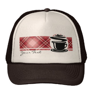 Red Plaid Hot Coffee Trucker Hat