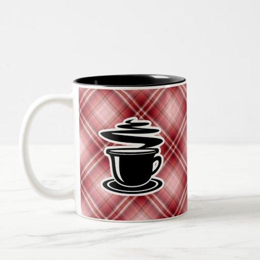 Red Plaid Hot Coffee Two-Tone Coffee Mug