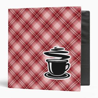 Red Plaid Hot Coffee Vinyl Binder