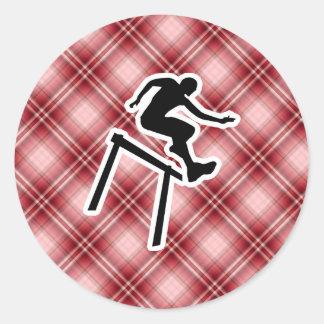 Red Plaid Hurdler Round Sticker