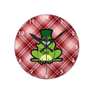 Red Plaid Irish Frog Round Clock