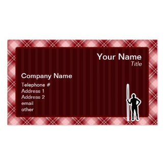 Red Plaid Javelin Throw Double-Sided Standard Business Cards (Pack Of 100)