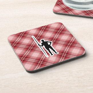 Red Plaid Javelin Throw Drink Coaster