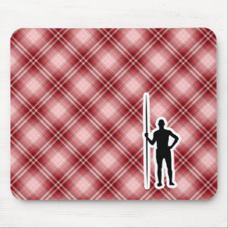Red Plaid Javelin Throw Mousepads