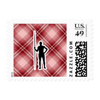 Red Plaid Javelin Throw Postage Stamp