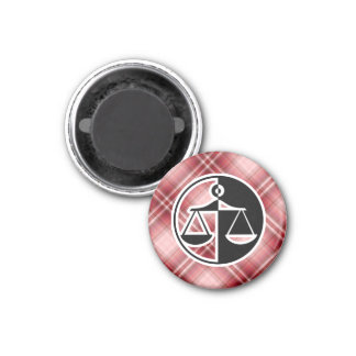 Red Plaid Justice Scales Magnets