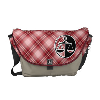 Red Plaid Justice Scales Courier Bags